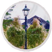 Hanging Flowers With An Old Fashioned Lantern Round Beach Towel