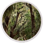 Hanging Moss And Giant Oaks Round Beach Towel
