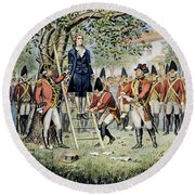 Hanging Of Nathan Hale Round Beach Towel