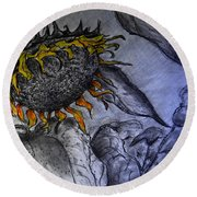Hanging On To Life - Sunflower Round Beach Towel