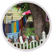 Hanging Out To Dry Round Beach Towel