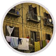 Hanging Out To Dry In Palermo  Round Beach Towel