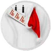 Hanging Santa Hat And Sign Round Beach Towel by Amanda Elwell
