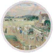 Hanging The Laundry Out To Dry Round Beach Towel by Berthe Morisot