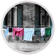 Hanging The Wash In Venice Italy Round Beach Towel