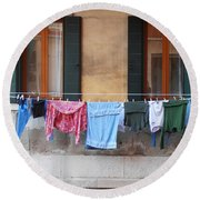 Hanging The Wash In Venice Round Beach Towel