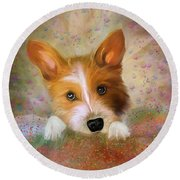 Hankie A Corgi And Westi Mix Cute Dog Round Beach Towel