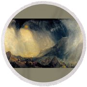 Hannibal And His Army Crossing The Alps Round Beach Towel