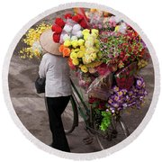 Hanoi Flowers 01 Round Beach Towel