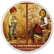 Hansel And Gretel Brothers Grimm Round Beach Towel