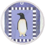 Hanukka Penguin Three Round Beach Towel