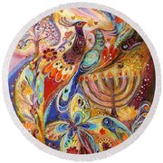 Hanukkah In Magic Garden Round Beach Towel