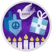Hanukkah Peace Round Beach Towel by Linda Woods