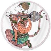 Hanuman Round Beach Towel by Kruti Shah