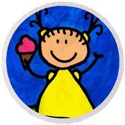 Happi Arte 3 - Little Girl Ice Cream Cone Art Round Beach Towel by Sharon Cummings