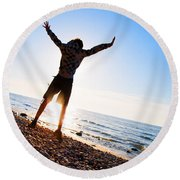 Happiness In The Beach Scenery Round Beach Towel
