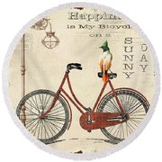 Happiness Is My Bicycle Round Beach Towel