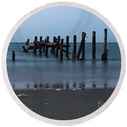 Happisburgh Beach Groynes Round Beach Towel