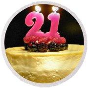 Happy 21st Birthday Round Beach Towel