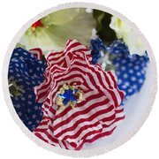 Happy 4th Of July America Round Beach Towel
