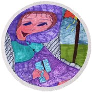 Happy And Content Round Beach Towel
