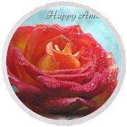 Happy Anniversary Rose Round Beach Towel
