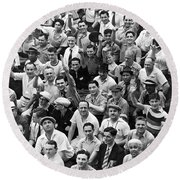 Happy Baseball Fans In The Bleachers At Yankee Stadium. Round Beach Towel by Underwood Archives
