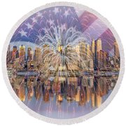 Happy Birthday America Round Beach Towel by Susan Candelario