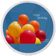 Happy Birthday Balloons Round Beach Towel