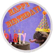 Happy Birthday Card Round Beach Towel by Edward Fielding