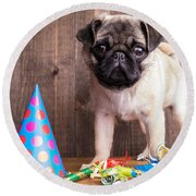 Happy Birthday Cute Pug Puppy Round Beach Towel by Edward Fielding