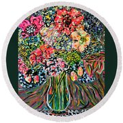 Happy Birthday Flowers Round Beach Towel