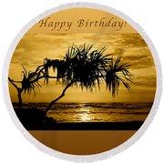 Happy Birthday Golden Sunrise Round Beach Towel