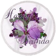 Happy Birthday Greeting Card - Purple Luneria Round Beach Towel