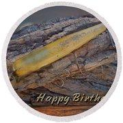 Happy Birthday Greeting Card - Vintage Atom Saltwater Fishing Lure Round Beach Towel