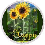 Happy Birthday Happy Sunflowers Couple Round Beach Towel