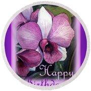 Happy Birthday Orchid Design Round Beach Towel