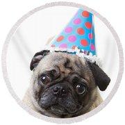 Happy Birthday Pug Card Round Beach Towel
