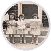 Happy Birthday Retro Photograph Round Beach Towel