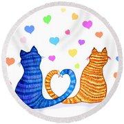 Happy Cats And Hearts Round Beach Towel