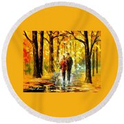 Happy Couple - Palette Knife Oil Painting On Canvas By Leonid Afremov Round Beach Towel