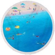 Happy Days At The Seaside Round Beach Towel