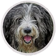 Happy Dog Round Beach Towel