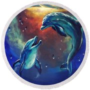 Happy Dolphins Round Beach Towel by Marco Antonio Aguilar