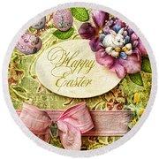Happy Easter 2 Round Beach Towel