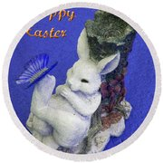 Happy Easter Card 3 Round Beach Towel