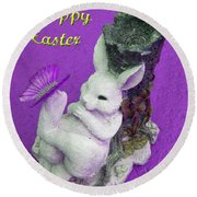 Happy Easter Card 4 Round Beach Towel