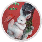 Happy Easter Card 5 Round Beach Towel