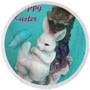 Happy Easter Card 6 Round Beach Towel