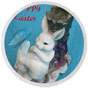 Happy Easter Card 7 Round Beach Towel
